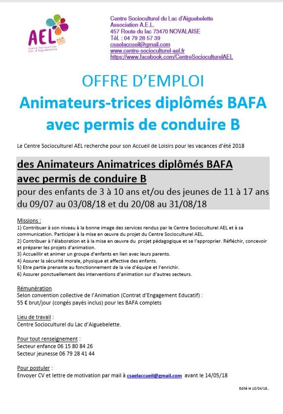 Offre D Emploi Animateur Bafa Centre Socioculturel Ael Lac